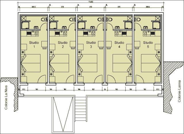 Plan des studios du centre de vacances La Niva